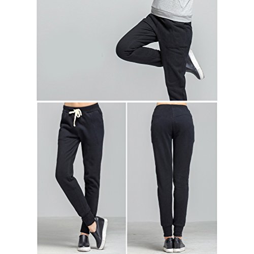 Zhhlaixing Classic Womens Thick Warm Casual Trousers Fashion Plus Size Loose Sports Pants Black