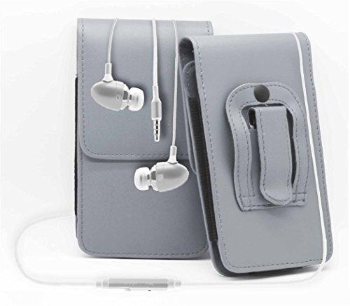 Grau / Grey HTC Desire 320 Gürteltasche Handy Holster mit magnetischem Verschluss aus PU-Leder Schützhülle Cover mit sicherem Gürtelclip und 3,5mm Stereo-In-Ohr-Kopfhörern von Gadget Giant®