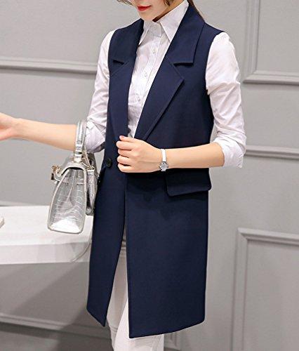 YiLianDa Donne Senza Maniche Cardigan Lunga Elegante Blazer Tailleur Giacche Cappotto Gilet Blu