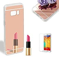 For Samsung Galaxy S8 Case [with Free Screen Protector].Funyye Crystal Clear Ultra Light Weight Shock Silicone Shockproof Protection Premium Flexible Soft Transparent TPU Slim Thin Clear Cover for Samsung Galaxy S8-Rose gold