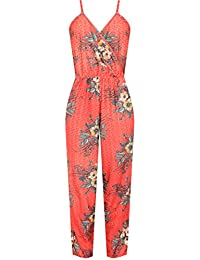 1d58d7f05af WearAll Women s Plus Strappy Sleeveless Wrapover Floral Print Jumpsuit  Ladies Pocket 14-28