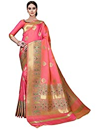 Soru Fashion Women's Pure Banarasi Silk Saree with Blouse Piece (Cott-745_Pink)