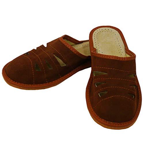 DF-SOFT Herren Herrenpantoffel Pantoffel Hausschuhe Haus Schuhe Leder Pantoffel Lederpantoffel Pantoletten Herren Schlappen Herren Modell 68 (46 EU)