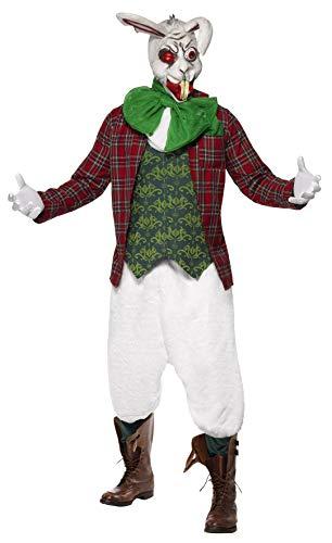 Smiffys, Herren Tollwütiger Hase Kostüm, Jacke mit angesetzter Weste, Halstuch und Fliege, Hose und Maske, Größe: L, 23019