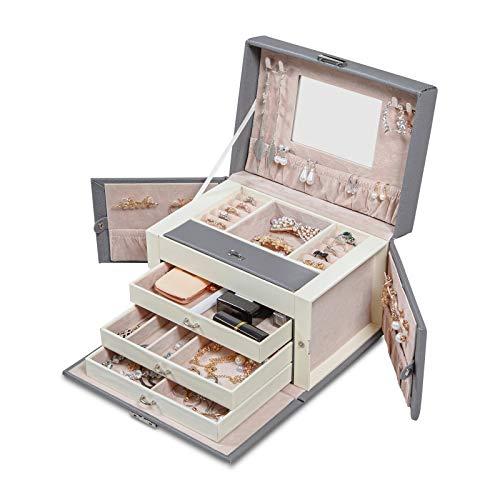 Meerveil Schmuckkasten, abschließbareSchmuckschatulle mit 4 Ebenen, Schmuckkästchen mit Spiegel, Schmuckkoffer für Damen und Mädchen, Geschenk für Frauen, Grau -