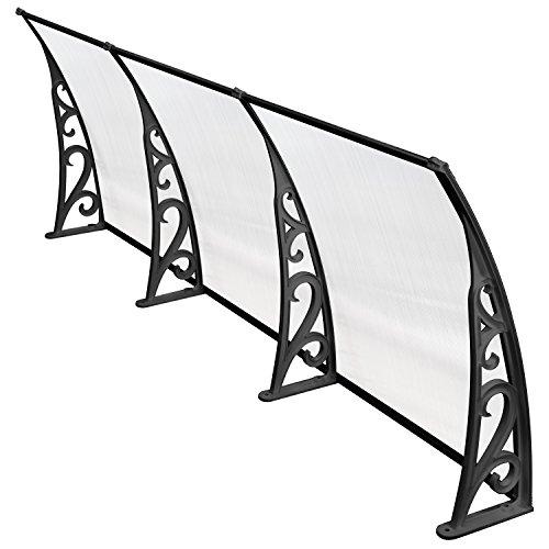 41423U0DM6L - MVPOWER Marquesina para Puertas y Ventanas Tejadillo de Protección Toldo Cubierta de Policarbonato en Jardín al Aire Libre Dosel de Techo (Color Negro, 270*98.5cm)