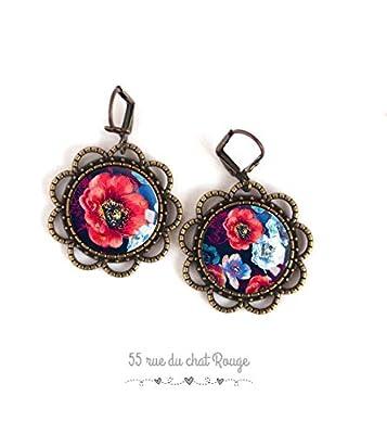 Boucles d'oreilles Cabochon asymétrique Grosse fleur, coquelicots rouge et bleu