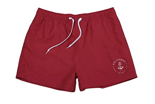 WUAMBO Herren Badeshorts Beachshorts Boardshorts Badehose,Watershorts Solid Leisure Red