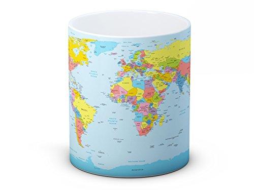 Politische Weltkarte - Hochwertigen Kaffeetasse Becher