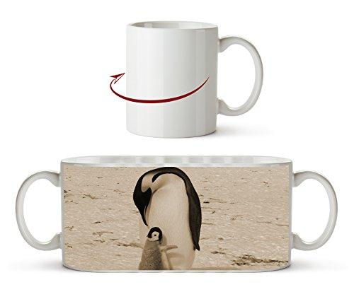 süße Kaiserpinguine in der Antarktis Effekt: Sepia als Motivetasse 300ml, aus Keramik weiß, wunderbar als Geschenkidee oder ihre neue Lieblingstasse. (Tiger Der Frosty)