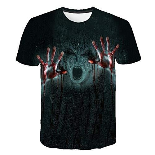 YIMENGF Halloween Horror Blood T-Shirt Männer Frauen Plus Size T-Shirts Ich Bin in Ordnung Cosplay Hoodies Wound Print 3D Streetwear Tops (Bin Ich Halloween Tier)