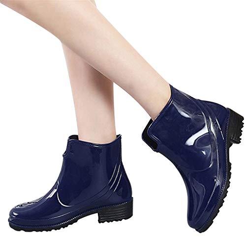 Dorical Kurzschaft Stiefel für Damen/Frauen Gummistiefel mit Blockabsatza Gummistiefeletten Regenstiefel Wasserdicht Boots Rain Boot Schlupfstiefel(Blau,39 EU)