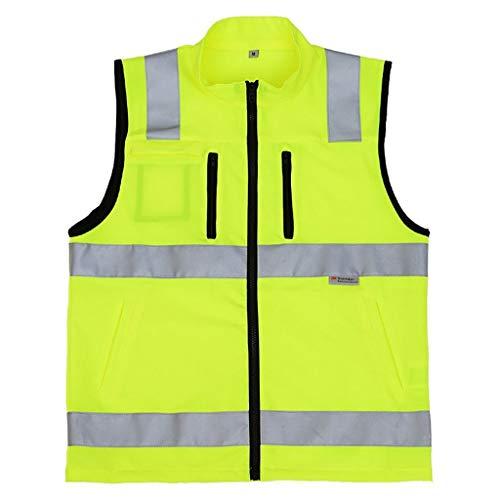 Reflektierende Streifen High Visibility Warnweste for Männer Sicherheitsweste Elastic Oxford Schmetterling Arbeitsweste mit ID-Taschen-Außenlauf (Farbe : Fluorescent Yellow, Größe : M) -