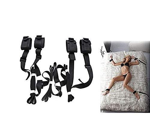 Juego de cinturones de amarre para actividades en la cama del padre (Negro)