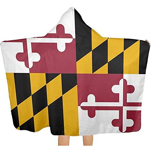 Not applicable Maryland Flag Hooded Throw Blanket, gemütliche warme tragbare Decken Neuheit Cape für Kinder Erwachsene -
