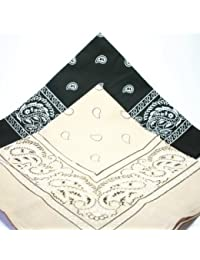 2 x Cotton Bandana Black and Khaki beige paisley print