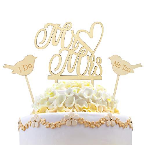 3tlg Mr & Mrs Cake Toppers Set KAKOO Vintage Holz Herr Frau Tortenstecker mit Love Birds I Do & Me Too Tortentopper Tortenaufsatz Hochzeitsgeschenk Hochzeit Jahrestag Torte Kuchen dekoration -