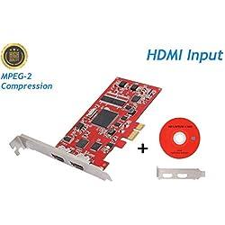 Carte Acquisition Vidéo PCI-E HDMI pour Video Tape/VCD/DVD/Caméscopes Via PC, Carte de Capture Vidéo Résolution 720P/1080i pour Windows, One in One Out Dual-Port TV Box