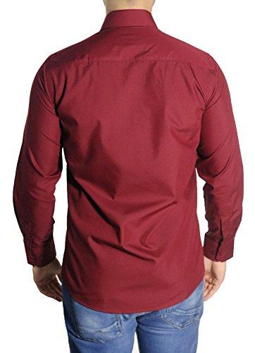 MUGA MMUGA Herrenhemd Extra Langarm Bordeaux