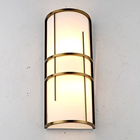 GJY Wall Hung European Style Bronze Glass Wall Lamp Modern Staircase Bedroom Bedside Led Lamp Living Room Corridor Craft Wall Lamp,S