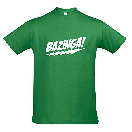 T-Shirt - BAZINGA, The Big Bang Theory - KULT-Shirt S-XXL , Kelly green - weiß , XL -