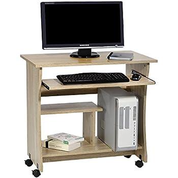 computertisch schreibtisch pc tisch rezi in sonoma eiche mit tastaturauszug und rollen 80 cm. Black Bedroom Furniture Sets. Home Design Ideas