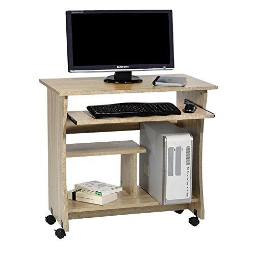Computertisch Schreibtisch PC Tisch REZI in Sonoma Eiche mit Tastaturauszug und Rollen, 80 cm breit