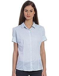 Bombay High Women's 100% Cotton Printed Short Sleeves Formal Shirt