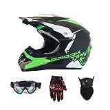 WHL Senden Sie Handschuhe Schutzbrillen Maske Motorrad Straßenrennen Off-Road-Helm Multi-Color Optional,Green,L