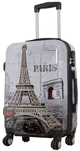 Koffer XL Paris Hauptstadt Metro Grau 77x51x30cm Hartschale Reise Trolley + 20% Erweiterbar mit Dehnfalte Bowatex