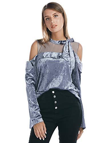 BARGOOS Damen Velours Cold Shoulder Oberteile Rüschen Langarm Tunika Shirt Hemd Bluse Tops -