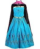 Ramonala Eiskönigin Prinzessin Kostüm Kinder Glanz Kleid Mädchen Weihnachten Verkleidung Karneval Party Halloween Fest, Blau und Lila, Gr. 110= Körpergröße 110cm