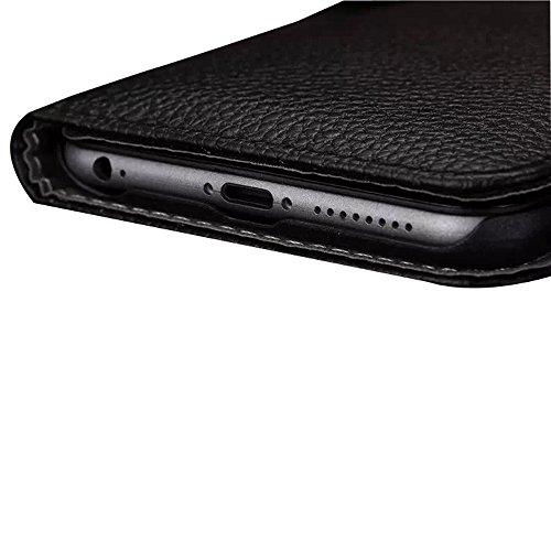 iPhone 6Cas, Fashion Housse étui portefeuille avec porte-cartes iPhone 6étui à rabat magnétique en cuir PU avec stylet/film protecteur d'écran transparent/Support noir