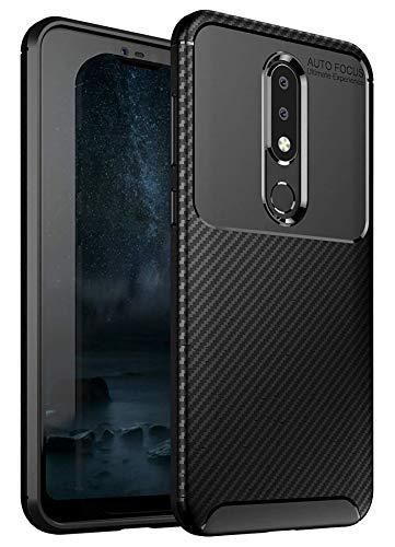 Case Collection Carbonfaser Design Hülle für Nokia 6.1 Plus Hülle Komfortable Griffigkeit Slim-Fit [Schutz vor Stößen] Weiches TPU-Gel Rutschfestes Gummi [Kratzfest] für Nokia 6.1 Plus Hülle