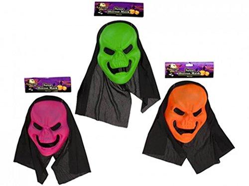 Maske mit Mesh-Ösen und schwarz Kapuze Halloween-Kostüm (Neon Farbige Halloween Kostüme)