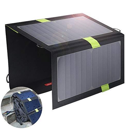 SHENGY Faltbares Solar-Ladegerät, 20 W Solar-Panel-Ladegerät, mit SolarIQ-Technologie, Dual-Port-USB, für iPhone, iPad, iPod, Samsung und Android-Smartphones (Mobile Ipod-ladegerät)