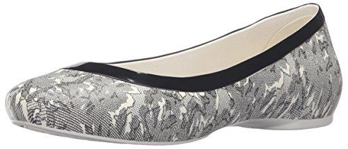 crocs Damen Linashinyflat Geschlossene Ballerinas Weiß (Oyster/Black)