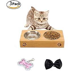 OMGO Gamelle Chien et Chat Double Gamelle en Inox Amovible avec Support en Bambou Solide Bonne Contenance Pratique et Saine pour Pet Feeder