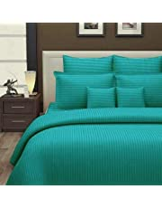 Urban Space - Regal 220 TC Cotton Double King Size Bedsheet 108 '' * 108'' inch with 2 Pillow Covers, Sateen Stripes, Sea Blue