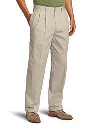 IZOD Mens American Chino Pleated Pant, Khaki, 36W x 30L
