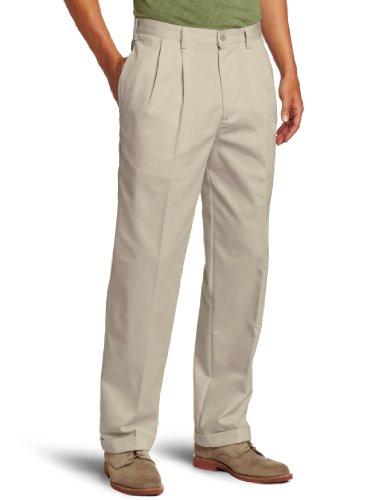IZOD Men's American Chino Pleated Pant, Khaki, 40W x 32L Classic Pleated Chino
