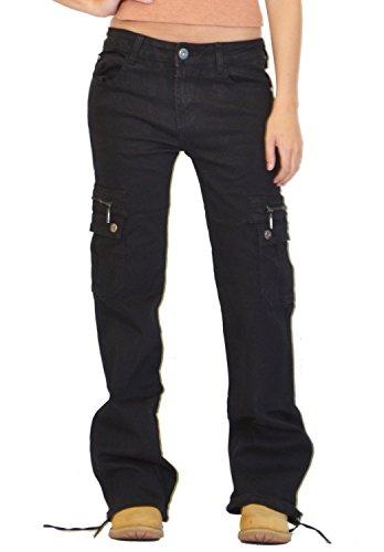 Glamour Outfitters - Damen Cargo-Jeans - Weites Bein - Schwarz (46) - Damen Cargo