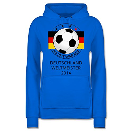 Shirtracer Fußball - Deutschland Weltmeister 2014 - Die Zeit war reif - M - Himmelblau - JH001F - Damen Hoodie (Max 2014 Mann Air)