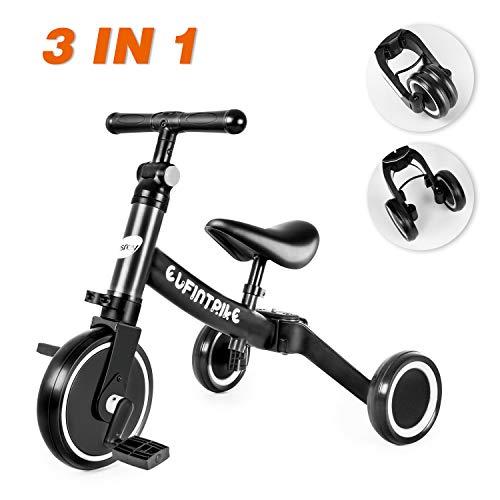 Besrey 3 en 1 Tricycle Vélo Draisienne pour Enfant, avec Hauteur Réglable de Selle et Guidon, Vélo sans Pédale pour Entraînement d'Équilibre des Garçons et Filles de 2-5 Ans