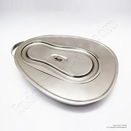 IndoSurgicals Bed Pan with Lid (Perfection type) Jointed Stainless Steel Unisex