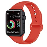 AK Compatible con para Apple Watch Correa 42mm 38mm 44mm 40mm, Silicona Blanda Deporte Reemplazo Correas Compatible con para iWatch Series 4, Series 3, Series 2, Series 1 (07 Orange Red, 42/44mm S/M)