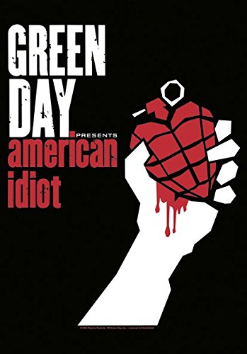 Heart Rock Licensed Bandiera Green Day - American Idiot, Tessuto, Multicolore, 110X75X0,1 cm