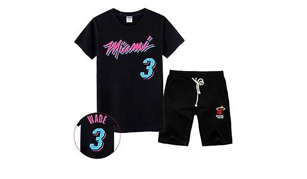 SDSSPORT Mens Jerseys Miami Heat #3 Dwyane Wade Basketball Suit Training Suit Match Suit Fan Costume