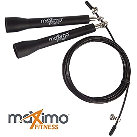 Skipping Rope - High Speed Crossfit Jump Rope - Ball Bearing for Fast Skipping and 'Double Unders' - Ideal for Cross Fit, Muscle Tone, Warm Up and Weight Loss - FREE Spare Cable - Lifetime Guarantee.