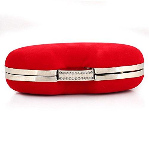 ERGEOB® Donna Clutch flanella Clutch Perle sacchetto di sera sacchetto di sera per Party Festa matrimonio rosso
